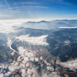 Flying over Lavanttal Valley / Carinthia