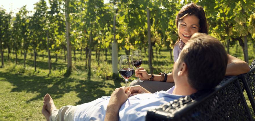 Weingenuss vor der Loisium Weinwelt im Kamptal. © Österreich Werbung, Fotograf: Wolfgang Zajc