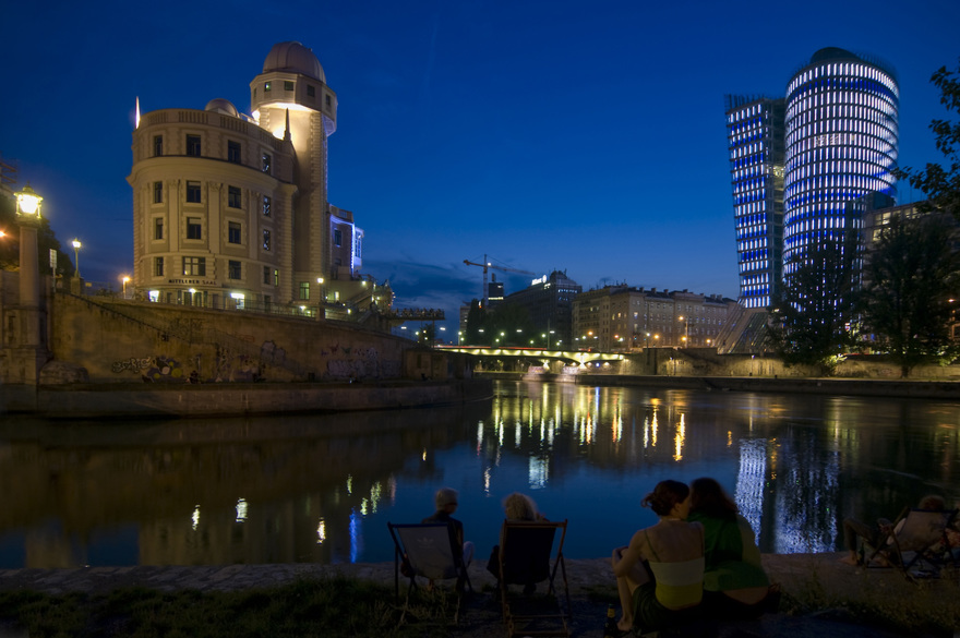 Urania and Uniqa Tower, Vienna's Danube Canal