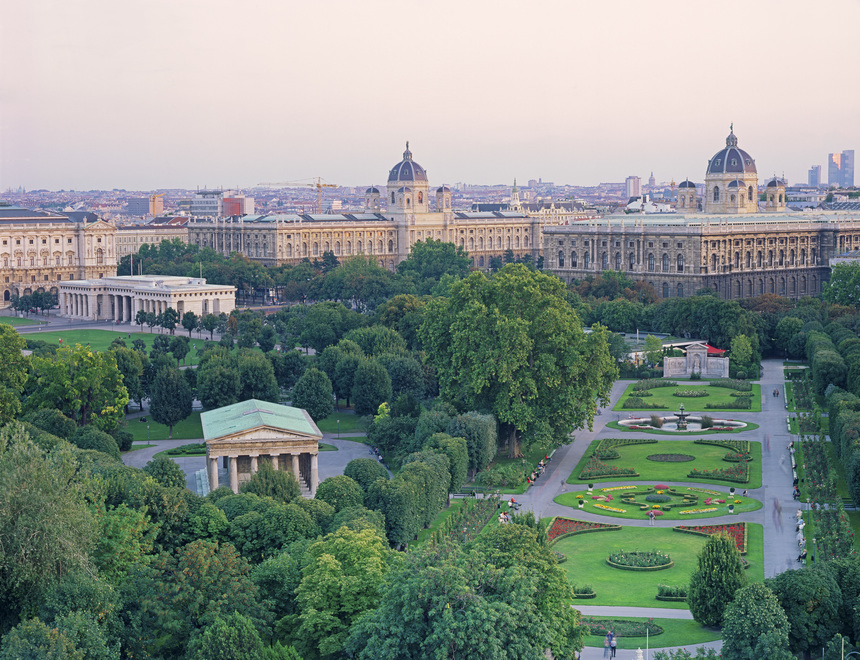 View of Volksgarten park and museums, Vienna
