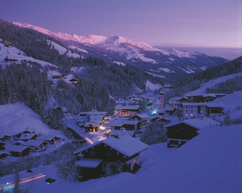 Wildschoenau Winter landscape Village at dusk