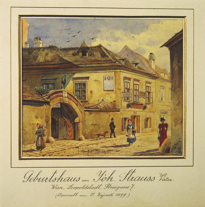 ehem. Geburtshaus von Johann Strauss (Vater) um 1899 / hist. Aquarell