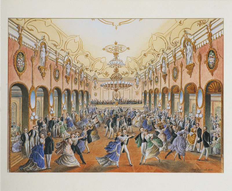 Ball in der Strauss Ära /historisches Aquarell / 1876 in Wien
