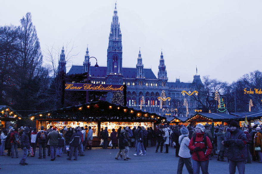 Christmas market in front of the City hall in Vienna
