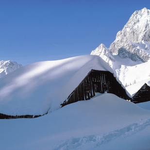 Alpine huts near Ramsau am Dachstein Winter