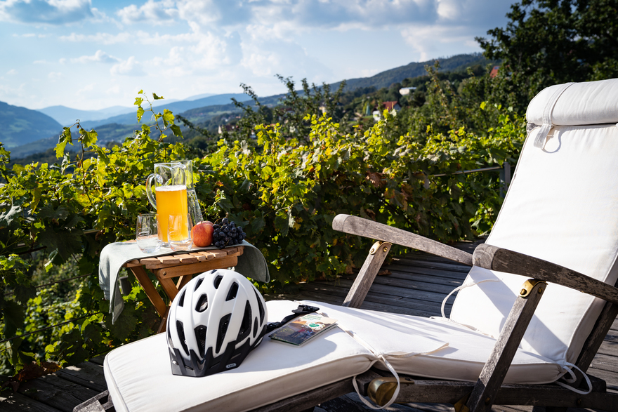 Still life - break from cycling with a view over Eastern Styria