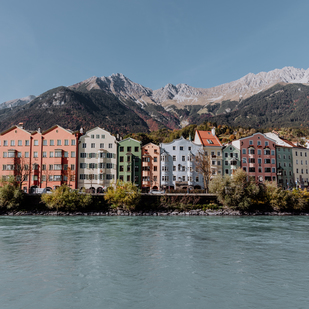 A tour around the city of Innsbruck - Mariahilf ( Inn riverbank)
