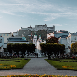 City of Salzburg - Mirabell Garden with a view of the fortress Hohen Salzburg