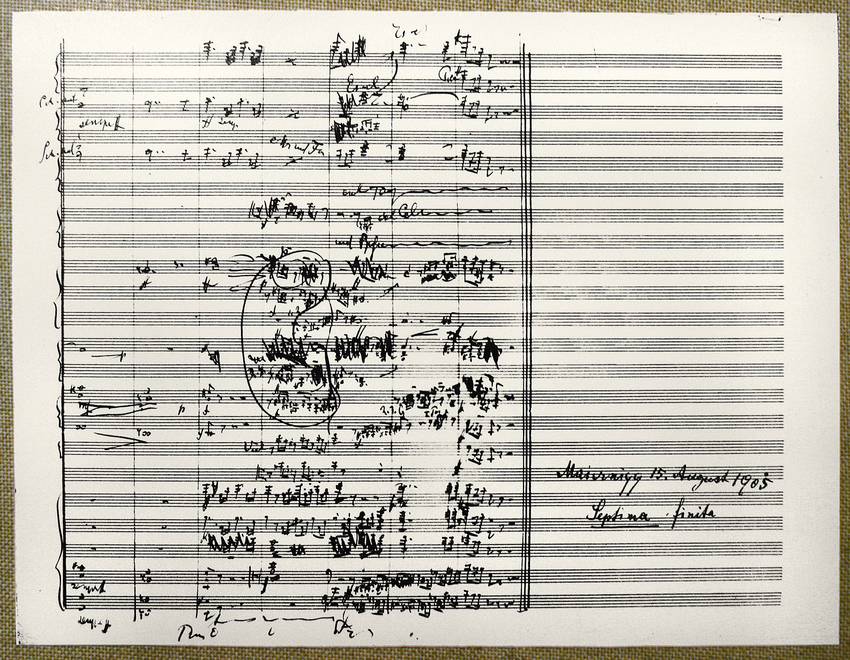 Gustav Mahler / Notenblatt Schlussakkord der 7. Symph.
