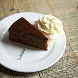 Sacher cake with whipped cream
