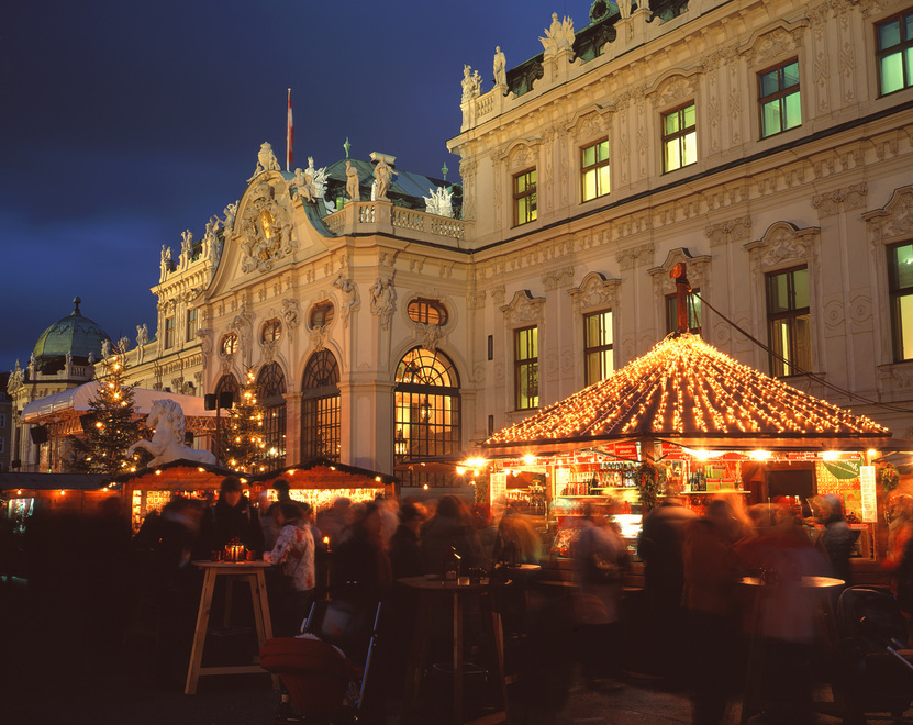 Christmas market at the historic Belvedere castle in Vienna